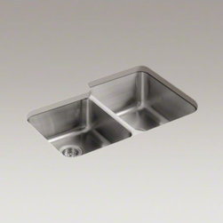 "KOHLER - KOHLER Undertone(R) 31-1/2"" x 20-7/8"" x 9-1/2"" under-mount large/medium double-b - Constructed from premium stainless steel, Undertone brings home the durability, quiet performance, and polished look of professional kitchens. The large/medium bowls allow you to keep clean and dirty dishes separate while offering plenty of room for overs"