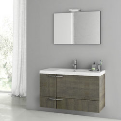"High End Bathroom Vanity Set - This bathroom vanity set has a wide body and is available in four finishes. The set comes complete with vanity cabinet, bathroom sink, and mirror. It is a wall mounted set and does NOT include the faucet. Product Specifications: 39.2"" Height: 21.8"" Depth: 17.7"""