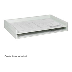 """Safco - Giant Stack Tray for 24 x 36 Documents (Qty.2) - White - Store your flat files frugally with the Giant Stack Tray. Create durable and efficient flat filing at a fraction of the cost with this versatile stacking system. Trays are extra sturdy, molded in one piece from high-density polyethylene with steel reinforcement for rigid support and strength. You can stack trays up to 5 feet high and form a solid bank of storage. Optional wood top is available for added workspace.; Features: Material: HDPE - High Density Polyethylene plastic; Color: White; Finished Product Weight: 10 lbs.; Assembly Required: No; Limited Lifetime Warranty; Dimensions: 39""""W x 26""""D x 3""""H"""