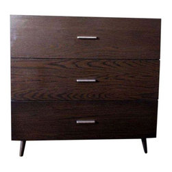 Used West Elm Modern Wooden Three Drawer Armoire - Dresser's brushed-nickel pull tabs are charming accents on a sleek facade. Pull them open to reveal size-able drawers for storing clothing, linens and accessories. Three drawers open on smooth metal glides.Solid wood frame and legs; engineered wood body in a chocolate-stained veneer.    This West Elm chocolate brown three draw dresser is about 2 years old. In great condition with a few hair-line scratches.  Great bedroom piece.