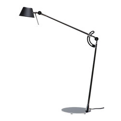 """Nuevo Living - Flex Table Lamp by Nuevo - HGSL107 - The Flex table lamp featured black polished steel for the arms and base.  The polished oval steel base couples with carbon tube frames and adjustable locking arms to make this a great table lamp.  The Flex takes 1 T4, GY6.35 Xenon filament 50 watt lamp bulb which is included.  The Flex also has an inline dimmer switch.  Max height is 46"""" and max length is 24""""."""