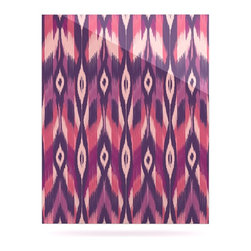 """Kess InHouse - Amanda Lane """"Purple Ikat"""" Pink Lavender Metal Luxe Panel (16"""" x 20"""") - Our luxe KESS InHouse art panels are the perfect addition to your super fab living room, dining room, bedroom or bathroom. Heck, we have customers that have them in their sunrooms. These items are the art equivalent to flat screens. They offer a bright splash of color in a sleek and elegant way. They are available in square and rectangle sizes. Comes with a shadow mount for an even sleeker finish. By infusing the dyes of the artwork directly onto specially coated metal panels, the artwork is extremely durable and will showcase the exceptional detail. Use them together to make large art installations or showcase them individually. Our KESS InHouse Art Panels will jump off your walls. We can't wait to see what our interior design savvy clients will come up with next."""