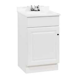 RSI HOME PRODUCTS - 18 x 16 White 1 Door Vanity with Top - Features: