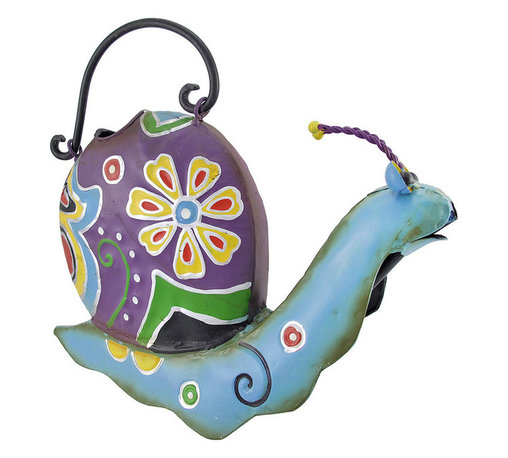 Folk Art Decorative Metal Snail Watering Can - This colorful watering can adds a whimsical accent to plant stands, gardens, flower beds, or to your porch or patio. Made of metal, it measures 9 inches tall, 13 inches long, 4 1/2 inches wide. It is shaped like a snail, and is hand painted with bright enamels. This cheerful accent looks great inside your home, as well, and makes a lovely gift for a friend.
