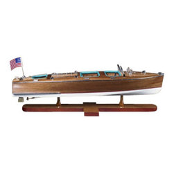 """Authentic Models - Authentic Models Triple Cockpit Wooden Speedboat - Looking for that perfect accessory for your child's room? Then Authentic Models has everything you could need with their nautical decor and furniture collection. Each piece in this collection is of the highest quality. These Authentic Models Speedboat with it's rich leather padded seats adds that special touch to your home decor.   * Dimensions: 25.2"""" Length x 7.9"""" Width x 7.5"""" Height."""
