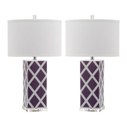 Safavieh - Garden Lattice Table Lamp ZMT-LIT4134E (Set of 2) - Lt Purple - Forever plaid takes on new meaning with the Garden Lattice table lamp by Safavieh. Crafted of purple and white ceramic with acrylic base and a silver neck, this graphic windowpane design is topped with a contemporary white cotton hardback drum shade. (Sold in set of 2).