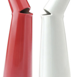 Modern Oil and Vinegar Porcelain Bottles - Set of 2 Red and White - The set is a pair of porcelain oil and vinegar cruets bent and cut to look as though they are singing.