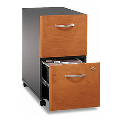 Bush Business - Cherry & Black File Cabinet w Locking Drawer - A cherry finished front and black case add an extra level of professional appeal to these file cabinets with locking drawers.  Vertical styling and sturdy casters are practical for any busy office where space is at a premium.  Fully extendable glides make access easy.  This stylish Natural Cherry Two Drawer File Cabinet with Casters fits easily under desks to save space and allow easy accessibility.  The cabinet features two drawers designed to hold letter, legal and A4-size files, and a gang lock secures both drawers. * Casters allow easy mobility. File fits under desks. Each drawer holds letter, legal and A4-size files. One gang lock secures both drawers. Drawers open on full-extension ball bearing slides. Ships ready for easy assembly. 15.709 in. W x 20.276 in. D x 28.110 in. H