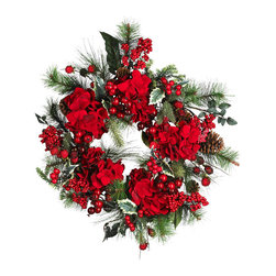 Nearly Natural - 22in. Hydrangea Holiday Wreath - Measuring 22 inches round, this festive holiday wreath incorporates magnificent red hydrangeas, evergreen sprigs, pinecones, and sprays of luscious berries. While it will look fabulous on a wall or door, hang it over a mirror for a truly one of a kind decoration! It can also be used as a table centerpiece by placing a large candle and holder in the middle.