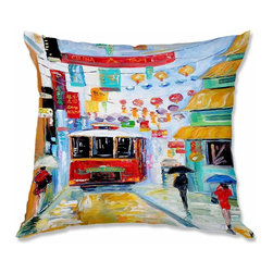 DiaNoche Designs - Pillow Linen - Karen Tarlton China Town - Add a little texture and style to your decor with our Woven Linen throw pillows. The material has a smooth boxy weave and each pillow is machine loomed, then printed and sewn in the USA.  100% smooth poly with cushy supportive pillow insert with a hidden zip closure. Dye Sublimation printing adheres the ink to the material for long life and durability. Double Sided Print, machine wash upon arrival for maximum softness. Product may vary slightly from image.