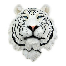 Zeckos - White Tiger Head Mount Wall Statue Bust - This awesome, cold cast resin replica White Tiger wall mount is a prefect addition to any jungle themed room. The head measures 16 inches tall, 13 1/4 inches wide and 8 inches deep. The detail is incredible, down to the hand painted eyes. This white tiger's head is Brand New, and makes a great gift for any big cat fan.