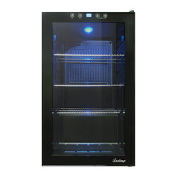 Vinotemp - 34-Bottle Touch Screen Beverage Cooler - Store your beverages in style with the sleek VT-34 Touch Screen Beverage Cooler by Vinotemp. The VT-BC34 TS comes with 3 adjustable shelves, a blue LED interior light to illuminate your beverages and glass door. A touchscreen control panel has an automatic control panel lock function to prevent any unwanted changes to your temperature settings.
