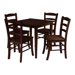 Winsomewood - Groveland 5-Piece Square Dining Table with 4 Chairs - Simple, relaxed and straight-forward describe this Shaker-style dining table with four ladder back chairs. The warm and natural appearance of the light oak finish will brighten up a kitchen or small dining area.