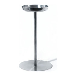 """Alessi - Jasper Morrison 10.92 oz. Wine Cooler Stand - Jasper Morrison is offering us his stainless steel wine cooler stand. This wine cooler stand is the perfect size and due to its sleek and sophisticated nature, it will make a striking statement in your home. Features: -Wine cooler stand. -Nicely rounded shape with a soft brushed finish. -The two wide handles allow the stand to be easily moved. Specifications: -Capacity: 10.92 oz.. -Dimensions: 25.2"""" H x 11.2"""" W. -Material: Stainless Steel. -Dishwasher safe."""