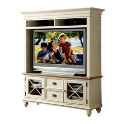 Riverside Furniture - Riverside Furniture Coventry TV Console & Hutch in Dover White - Riverside Furniture - TV Stands - 3254032542KIT -  Riverside's products are designed and constructed for use in the home and are generally not intended for rental commercial institutional or other applications not considered to be household usage.Riverside uses furniture construction techniques and select materials to provide quality durability and value in our products and allows us to meet the wide range of design and budget requirements of our customers. The construction of our core product line consists of a combination of cabinetmaker hardwood solids and hand-selected veneers applied over medium density fiberboard (MDF) and particle board. MDF and particle board are used in quality furniture for surfaces that require stability against the varying environmental conditions in modern homes. The use of these materials allows Riverside to design heirloom quality furnishings that are not only beautiful but will increase in value through the years.