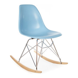 Vertigo Interiors - High Quality Eames Style RSR Rocking Side Chair, Blue - The Eames Style RSR Rocking Side Chair has the iconic Eames style eiffel base paired with treated beech wood runners. Constructed of high quality polypropylene, the chair is durable, non-toxic and easy to clean. This chair is exceptionally comfortable and is perfect for nurseries and dining rooms alike.