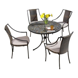 HomeStyles - 5-Pc Outdoor Dining Set - Includes dining table and four slope arm chairs. Round slate tile table top. Table top with center opening for an umbrella. Hole can be closed with the black cap. Cabriole designed base constructed of powder coated steel in black finish. Adjustable nylon glides prevent damage to surfaces and provide stability on uneven surfaces. Chair with synthetic-weave seat and back. Powder coated steel frame in black finish. Tie-attachment taupe cushions. Synthetic-weave both moisture and weather resistant. Requires very little maintenance. Designed to stack for easy storage. Made from tile and steel. Made in Vietnam. Seat height: 18 in.. Arm height: 22.75 in.. Chair: 23.25 in. W x 22.25 in. D x 36 in. H. Table: 39.5 in. Dia. x 30 in. H. Warranty. Table assembly instructions. Chair assembly instructions