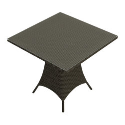"Forever Patio - Hampton Modern Patio 36 in. Square Pub Table, Chocolate Wicker - The Forever Patio Hampton Modern Patio 36"" Square Pub Table (SKU FP-HAM-36SPT-CH) creates a casual drinking and dining setting without sacrificing style. The UV-protected, chocolate-colored wicker sports a flat woven design, creating a contemporary look with clean lines. Each strand of this outdoor wicker is made from High-Density Polyethylene (HDPE) and is infused with its rich color and UV-inhibitors that prevent cracking, chipping and fading ordinarily caused by sunlight. This outdoor dining table is supported by thick-gauged, powder-coated aluminum frames that make it more durable than natural rattan. A tempered glass top is included with this table, adding a touch of modern style to your outdoor dining table."