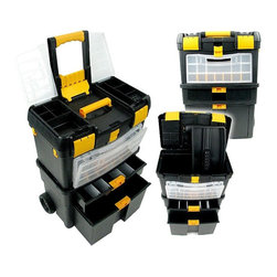 Trademark Global - Deluxe Mobile Workshop & Toolbox w 14 Storage - Tired of having to search for the right tool every time you need a screwdriver, wrench, or hammer?  Then it's time to get organized with this deluxe multi-compartment mobile workshop cart with removable toolbox.  The wheeled base means you can carry all of your tools right to the job--no more trips back and forth to get what you need.  Turn any corner of your garage or utility room into a handy workshop with this versatile rolling toolbox. Top has two lift up panels with four compartments in each. Top lid lifts up to reveal a removable tray and tool storage area. Front has a removable box with 14 sections. Top drawer has 5 stalls. Large open bottom drawer for extra storage. 18 in. W x 10.5 in. D x 24.5 in. H (33 in. with handle extended)This deluxe toolbox is packed full of storage space with removable tray and case. Have a job to take care of somewhere else? No problem, the sturdy pop-up handle and wheels on this mobile workshop allow you to easily take all of your favorite tools with you, so you won't forget a thing!