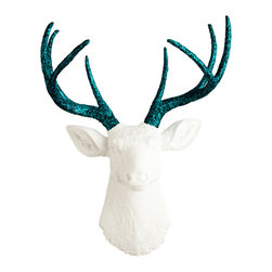White Faux Taxidermy - The Jackson - White Faux Resin Deer Head w/Turquoise Glitter Antlers - Measurements:
