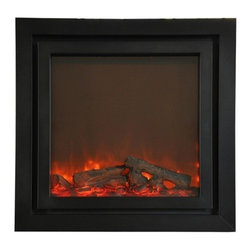 Yosemite Home Decor - Perseus - Black double-surround electric fireplace insert with adjustable heat and flame.  Use the included remote control to adjust the heat and flame.  This fireplace heats a 220 sq ft room with ease and can be used with or without the heat for year-round enjoyment.