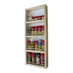 None - WG Wood Products Four-Shelf Solid Wood Surface Mounted Ktichen Spice Rack - Organize your supplies and make cooking easy with this attractive wooden kitchen spice rack. Made from natural pine,it is ready to be painted or stained. Easy to mount on a wall,this rack will keep your spices handy and easy to reach.