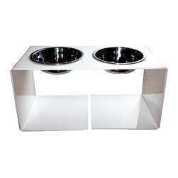 Ultra Modern Pet - Elevated Acrylic Pet Feeder | White - Modern minimalist design. Stark white acrylic frame in a high gloss finish. Removable stainless steel bowls, 2.5 cup capacity. Designed for cats and medium to large-sized dogs.
