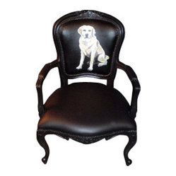 ecofirstart - Dog Armchair - A dog lover's eclectic armchair features the head or body of your favorite breed painted on the backrest. A traditional and unusual palette makes for a uniquely personalized piece of furniture. Forever capture Fido's figure and sit comfortably knowing your best friend has got your back.