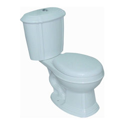 """Renovators Supply - Toilets White Sheffield Round Toilet Dual Top Flush   13752 - Dual Flush Toilets Sheffield Top Flush: By using Dual Flush technology the EPA estimates homeowners save up to 25,000 gal. of water a year. How? Use 0.8 LOW flush for liquids and 1.6 HIGH flush for solid waste. Control your water usage to SAVE money and conserve water. Our G-Force high efficiency flush system technology lets you flush only ONCE! Eliminate the need to double flush. Ergonomic easy height and round bowl makes using it safer by putting less strain on your body. Includes SAFE and QUIET """"No-Slam"""" plastic toilet seat and EASY top flush plastic faux chrome button. Measures 31 3/4 inch H x 25 1/2 inch projection"""