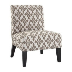 Monaco Accent Chair - Spades Taupe - The Monaco Accent Chair - Spades Taupe serves as a smart complement to any piece in your home. This charming piece is constructed from kiln-dried hardwood and features a soft-but-firm high-density foam padding. A heavy fabric upholsters the piece, patterned in a vibrant taupe-colored spade design. A handsome armless piece, the Monaco accent chair makes a perfect addition to designs both modern and traditional. Legs feature an espresso finish.About DwellCreating products that celebrate modern decor as well as modern living, Dwell likes to think of themselves as nice modernists in terms of product quality and craftsmanship offered at an affordable price. This helps brings life to decors of all types, and celebrate all modern designs individually. Dwell's main goal is to provide products that help pull a room together and accentuate each the style of any home.