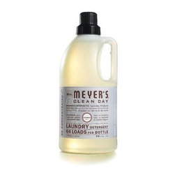 Mrs. Meyer's 2x Laundry Detergent - Lavender - Case Of 6 - 64 Oz - Mrs. Meyer's Clean Day Lavender Laundry Detergent liquid is one of our hardest working cleaners. It is concentrated, safe and gentle on clothes-yet it really packs a punch when it comes to removing dirt and grime. Contains Anionic Surfactants from plant-derived sources, Cotton Extract, Borax, dirt and stain-fighting enzymes, and of course, those important natural essential oils for a garden-fresh fragrance. Formulated for all washers including high-efficiency washing machines. Begin your laundry day by sorting clothes and linens. Check for stains and items left in pockets (candy wrappers, lunch tickets, coins, etc.). Next, select the right water temperature. Use HOT water for whites, colorfast pastels and light prints. Use WARM water for permanent press clothes and jeans. COLD water works best for bright colors and fabrics that tend to fade. Then add Laundry Detergent: 1/2 capful for an ordinary load, 3/4 capful for an extra-large or particularly filthy load of clothing. So easy! The formula is made from 97% naturally derived ingredients like orange peel oil and lavender oil.