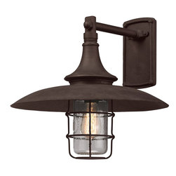 Troy Lighting - Troy Lighting Allegheny Transitional Outdoor Wall Sconce X-2223B - This transitional wall sconce is a great choice for barn and garage areas. It offers plenty of light for darkened space and it keeps the light directed right where it is most needed. The high quality materials ensure that this light will not only hold up to the elements but it will provide years of perfect light and style.