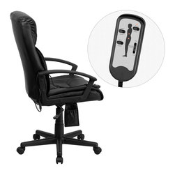 Flash Furniture - Flash Furniture Office Chairs Massaging Offfice Chairs X-GG-P8759-TB - Enjoy a relaxing massage in the comfort of your own office or home with this incredibly comfortable Massaging Executive Office Chair by Flash Furniture. The included remote has a variable slider intensity mode to get to your desired comfort level and has a designated side pocket when not in use. Chair features a high back contemporary design with soft leather upholstery and double padded seat and back. Get the most out of your next office chair with this Overstuffed Padded Executive Chair with included Massage feature. [BT-9578P-GG]