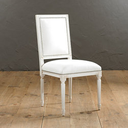 Ballard Designs - Square Louis Side Chair with Pewter Nail Head - Hand crafted in Italy. Tapered fluted legs. Upholstered in the USA. Available in Off-White Twill. Special order in your choice of fabrics. Our elegant, square-backed Louis Chairs offer enduring style that never succumbs to fickle trends. Inspired by Greek and Roman classicism the lines never tire and feel just as relevant today as they did 200 years ago. Each frame is hand crafted in Italy of solid beechwood with tapering fluted legs crowned in carved florettes. Hand applied pewter nail head trim adds further detailing. Square Louis Armchair with Pewter Nails features: . . . . . Your choice of three leg finishes.
