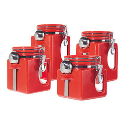 OGGI - Red EZ-Grip Canister Set - Give the kitchen a chic look with these stylish ceramic canisters boasting easy-to-grip handles. Each one comes with a spoon and has an airtight lid, so sugar won't clump and flour stays fresh.   Includes 5'' canister, 6'' canister, 7'' canister, 8'' canister and four spoons Ceramic / stainless steel Hand wash Imported
