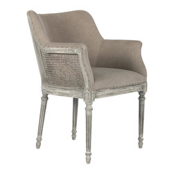 Sue French Country Distressed Gray Caned Dining Arm Chair - Simple and sophisticated, this small side chair is perfect at the end of a table or a small niche in the home.