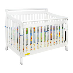 AFG Baby Furniture - Amy Convertible Crib with Toddler Rail White - Featuring a round bar design across a sleigh style crib, the Amy 3 in 1 Convertible Crib combines timeless style and long-term durability into a popular crib with many standard features such as 4-level mattress support which can be adjusted throughout your baby's growth, solid wood construction, and toddler bed and full-size conversions. Wider, thicker slats on all sides of the crib lend durability to the entire crib structure. Guardrail included and full-size conversion rails sold separately. All Athena products meet and exceed the latest US safety standards. The Amy crib is a simple and charming crib perfect for your modern nursery.