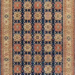 "ALRUG - Handmade Dark Blue Oriental Kazak Rug 8' 1"" x 10' 8"" (ft) - This Afghan Kazak design rug is hand-knotted with Ghazni Handspun Wool on Cotton."