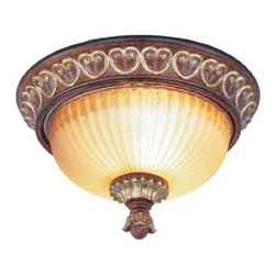 Livex Lighting - Livex Villa Verona Ceiling Mount Verona Bronze W/ Aged Gold Leaf Accents -8562 - Livex products are highly detailed and meticulously finished by some of the best craftsmen in the business