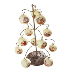 Home Decorators Collection - 13 Piece Ornament Stand - On the first day of Christmas my true love gave to me, an ornament of jubilee! Our 13 Piece Ornament Stand comes with 12 bulbs featuring the classic Christmas carol. The beautifully painted glass bulbs will harmonize perfectly with your ornament collection. Order this keepsake for the holidays today. Painted glass. Metal resin stand. Set of 12 bulbs.