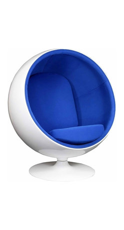 Modern ball shaped blue lounge chair inspired by Eero Aarnio design - Modern ball shaped lounge chair is inspired by the Ball chair design by Eero Aarnio. The inner seating area is upholstered with a high quality  soft and comfortable blue fabric. The exterior shell and base are made of fiberglass. The base is equipped with a swivel mechanism.