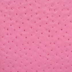 Emu Faux Leather / Vinyl Upholstery Fabric, Pink - This emu faux leather has a supple texture in pink, and is suitable for upholstery, cornice/headboards, and other decorative uses.