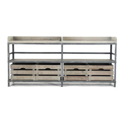 Kathy Kuo Home - Ardsley Industrial Loft Gray Metal Bakers Rack Sideboard - Part of the beauty of this chic bakers rack sideboard is in its many possibilities. In an urban loft kitchen or dining room, this sideboard becomes a stylish workhorse, holding all manner of cooking and serving essentials. Or place it in your living area as a console and use its three rustic shelves to store and display all manner of media devices.  Want clutter out of site?  Four recycled wood milk crates slide on and off shelves as needed.