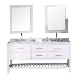 "DESIGN ELEMENT - London 72"" Double Sink Vanity Set, White - The 72"" London rectangular-sink double vanity in white is elegantly constructed of quality woods. The classic beauty of the white Carrara marble countertop and contemporary style of the white cabinetry bring a sophisticated and clean look to any bathroom. Seated at the base of the rectangular ceramic under-mount sinks are chrome finish pop-up drains, designed for easy one-touch draining. Two matching framed mirrors are included. This beautiful vanity includes four pullout drawers and two pull-down shelves, all accented with satin nickel hardware. There is an additional open storage shelf at the bottom of the vanity. The London Bathroom Vanity is designed as a centerpiece to awe and inspire the eye without sacrificing quality, functionality, or durability."