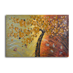 "Embossed cherry on grass Hand Painted Oil Painting - Size: 24"" x 36"""
