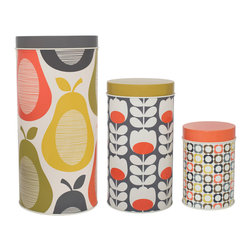 "Orla Kiely - Orla Kiely Tins/Canisters - Set of 3 Canisters - Multi Pattern - Set of 3 canisters featuring Orla Kiely's Multi Flower, Pear and Tulip prints. Made of aluminum. Handwash or wipe clean only. Measures: 5.5"" diameter X 10""h, 4.2"" diameter X 7.9"" h, 3.3"" diameter x 5.1"" h"