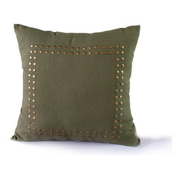 14 Karat Home - Jessica Pillow - This comfortable heavy weight cotton blend fabric pillow fits into any living space. Studs lining the border, this d̩cor piece is unique by adding a funky, modern twist to a classic.