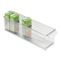 Interdesign - InterDesign Fridge Binz 4-Inch x 15-Inch Stackable Clear Plastic Bin - InterDesign Fridge Binz is easy to clean to provide an ideal storage solution for your refrigerator. Keeps refrigerators neat and organized.