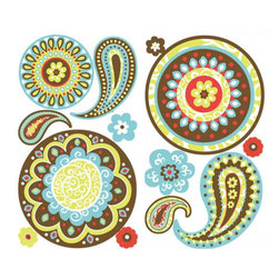 York Wallcoverings - Green Paisley Wall Sticker Set 31pc Decals - Features: