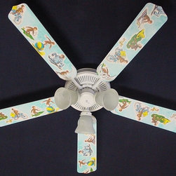 Ceiling Fan Designers - Ceiling Fan Designers Curious George Monkey Indoor Ceiling Fan - 42FAN-KIDS-CGM - Shop for Ceiling Fans and Components from Hayneedle.com! So cute and fun Curious George is the perfect way to decorate your nursery and this Ceiling Fan Designers Curious George Monkey Indoor Ceiling Fan completes the look nicely. An adorable ceiling fan this one shows George doing all sorts of activities. It's a great way to cool (or warm in the winter) and light up your little one's room. It comes in your choice of size: 42-inch with 4 blades or 52-inch with 5. The blades are reversible so you get the Curious George design on one side and classic white on the other. A great way to transform the nursery to a big kid room. It has a powerful yet quiet 120-volt 3-speed motor with easy switch for year-round comfort. The 42-inch fan includes a schoolhouse-style white glass shade and requires one 60-watt candelabra bulb (not included). The 52-inch fan has three alabaster glass shades and requires three 60-watt candelabra bulbs (included). Your ceiling fan includes a 15- to 30-year manufacturer's warranty (based on size). It is not an officially licensed product. Licensed products were used as decorations.